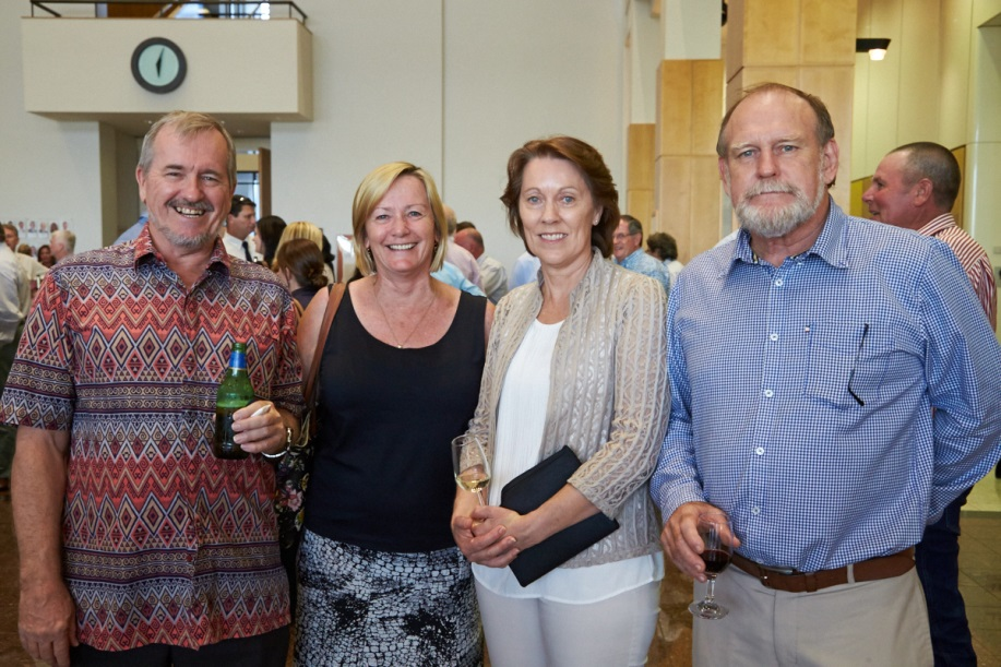 Arthur Cameron (NTG), Annette Duncan (NTG), Linda Bennison (Soil Science Australia and Australian Society of Agronomy) and Bob Williams (NTG) sharing a drink at the conference welcome reception hosted by the Hon. Gary Higgins, Minister for Primary Industry and Fisheries