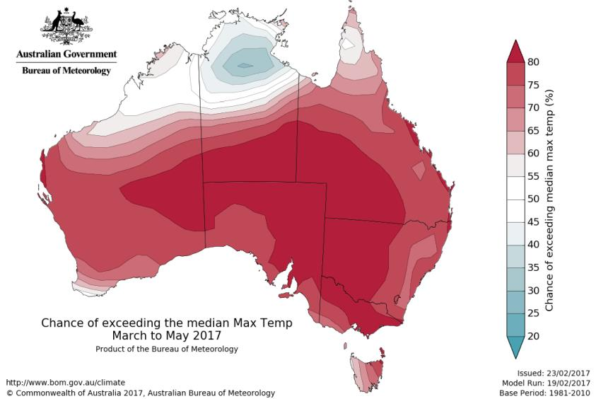Temperature maps. Sourced from the Australian Bureau of Meteorology