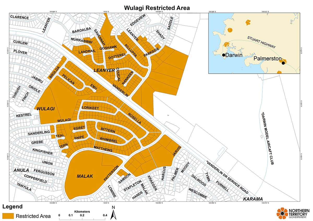 Wulagi restricted area map for movement of citrus plants and leaves