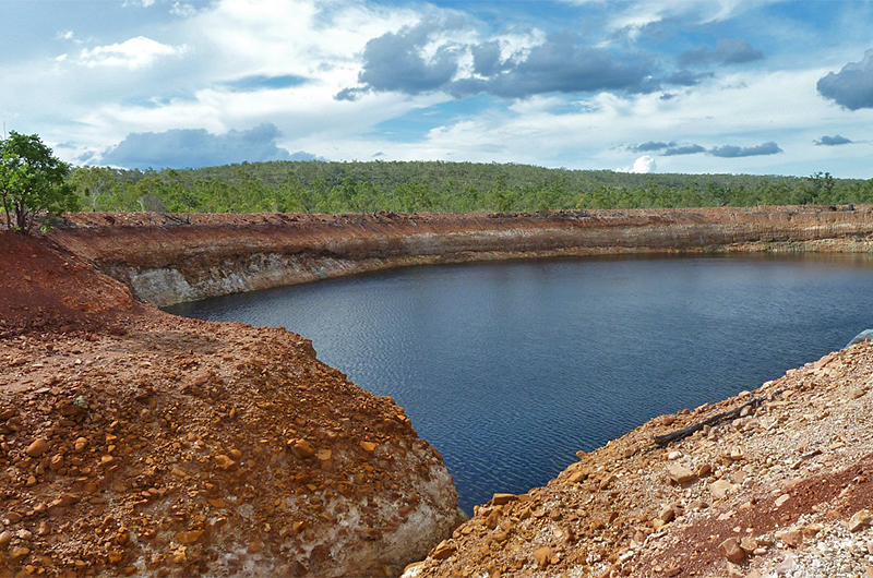 View of the Sandy Flat Pit with the inflow drain in the foreground (2013)