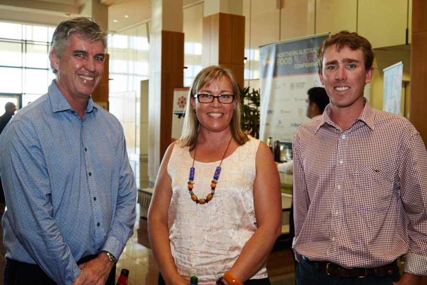 Plant Industries Development officers Ian Biggs, Mila Bristow and Callen Thompson at the welcome reception