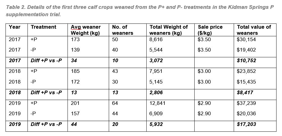 Details of the first three calf crops weaned from the Phosphorous trial heifers at Kidman Springs