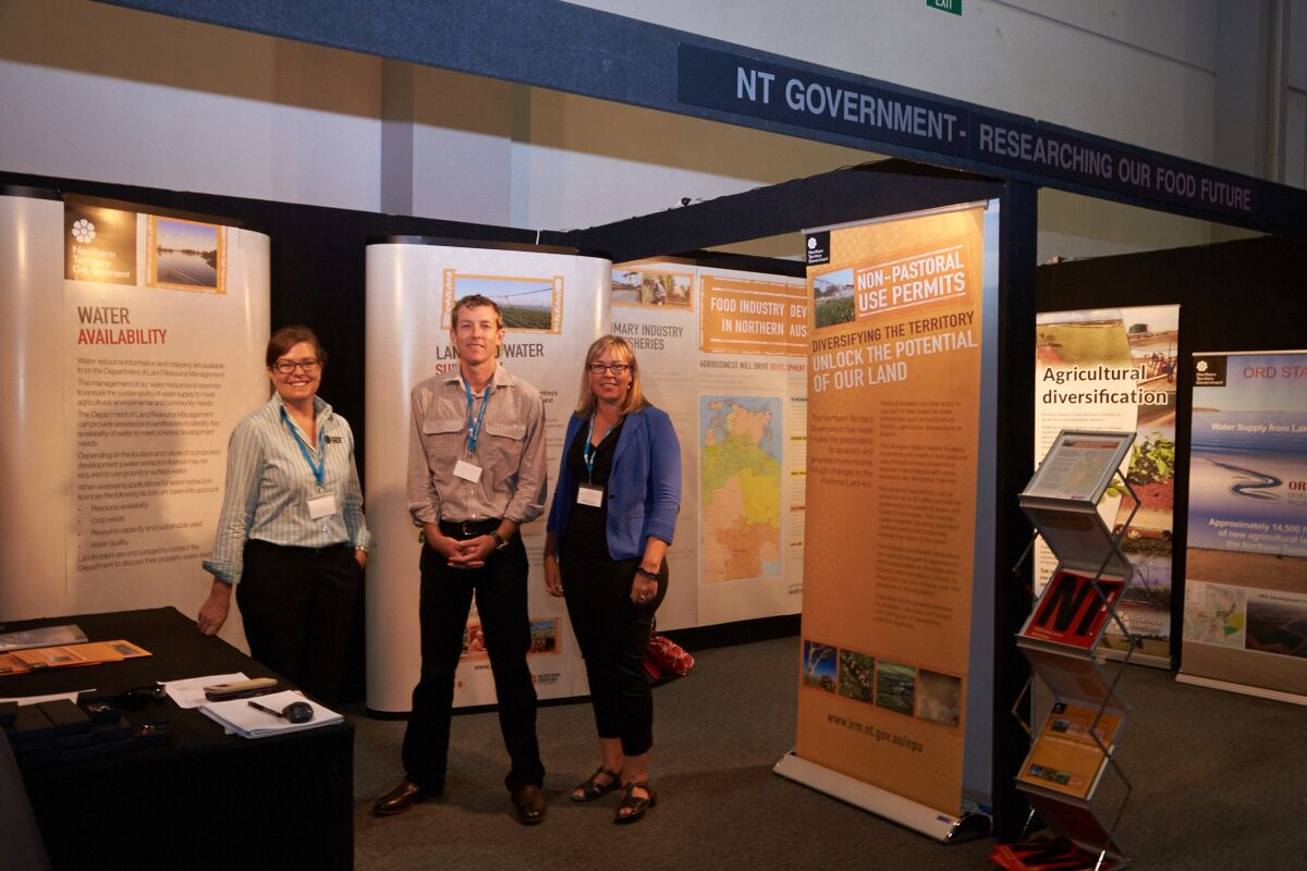 NTG officers Tania Moloney, Jason Hill and Mila Bristow discussed northern development with conference delegates at the NTG conference display