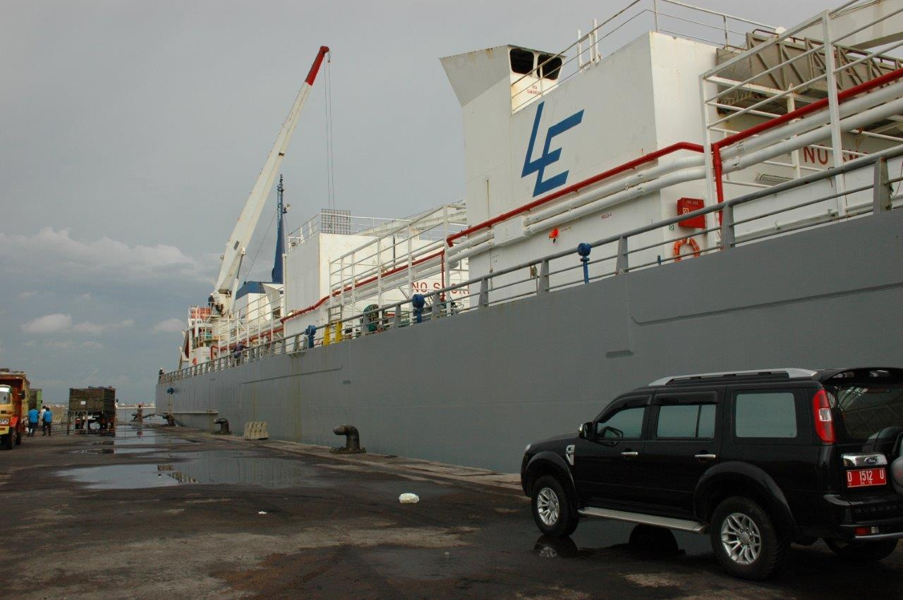 The MV Bison Express arriving in Jakarta, Indonesia