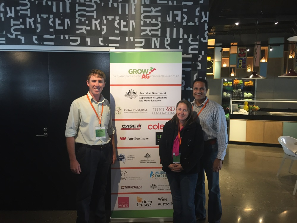 Teagan Alexander and Callen Thompson from DPIR with Shenal Basnayake, NT Farmers