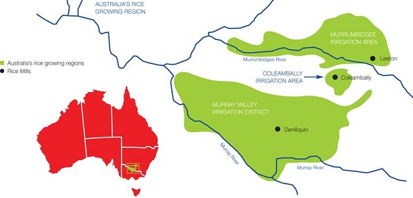 Rice growing regions of Australia