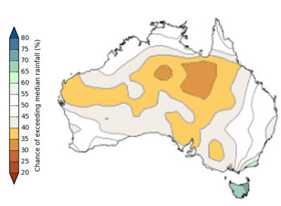 Figure 1: Chance of above the median rainfall. (March to May 2018