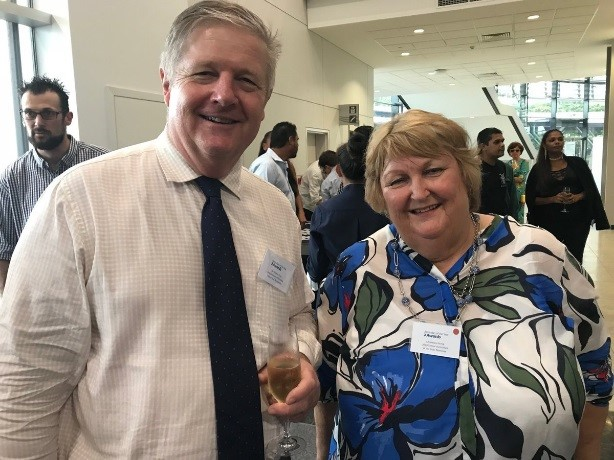 Figure 7: Alister Trier (Chief Executive NTDPIR) and Helen catch up at an event in Darwin.