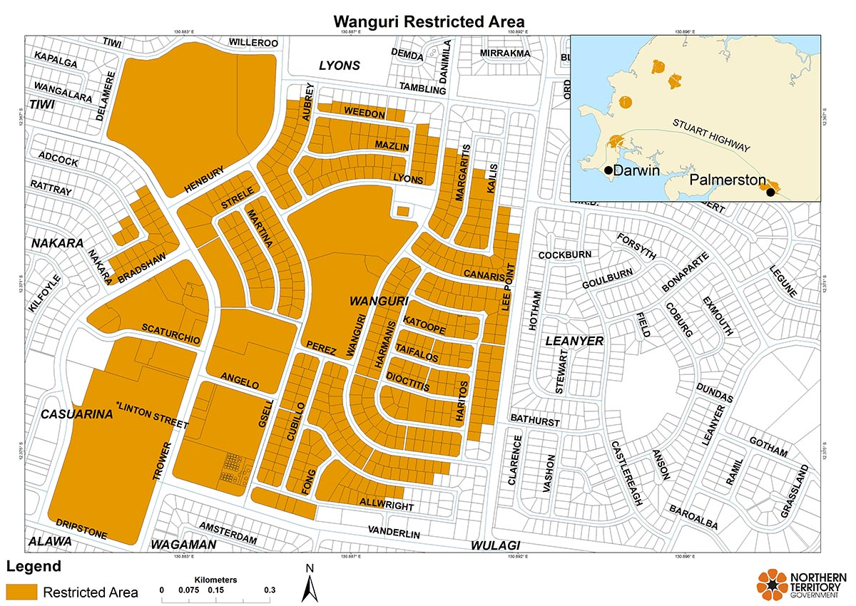 Wanguri Restricted Area map