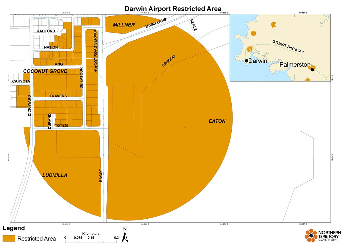 Darwin airport restricted area map for movement of citrus plants and leaves