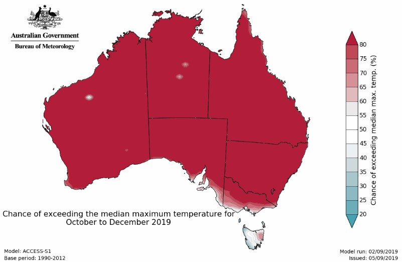Australia BOM weather map: Chance of exceeding the median maximum temperature for October to December 2019