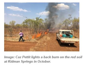 Image: Caz Pettit lights a back burn on the red soil at Kidman Springs in October.