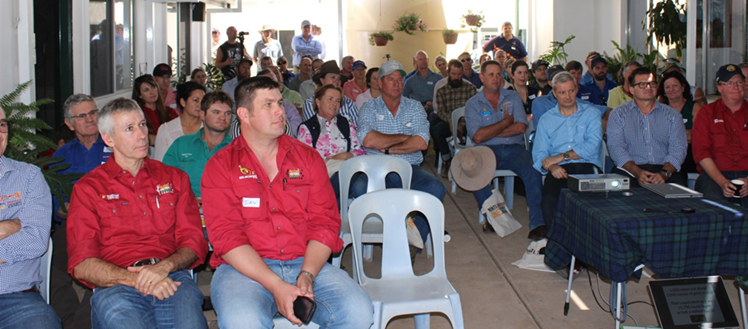 Minister Vowles was one of many who packed a breezeway at Undoolya Station homestead to listen to the day's presenters