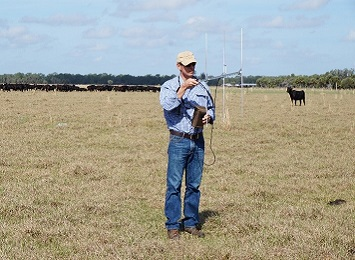 Tim Schatz uses a yagi antenna to locate a calf fitted with a VHF tag