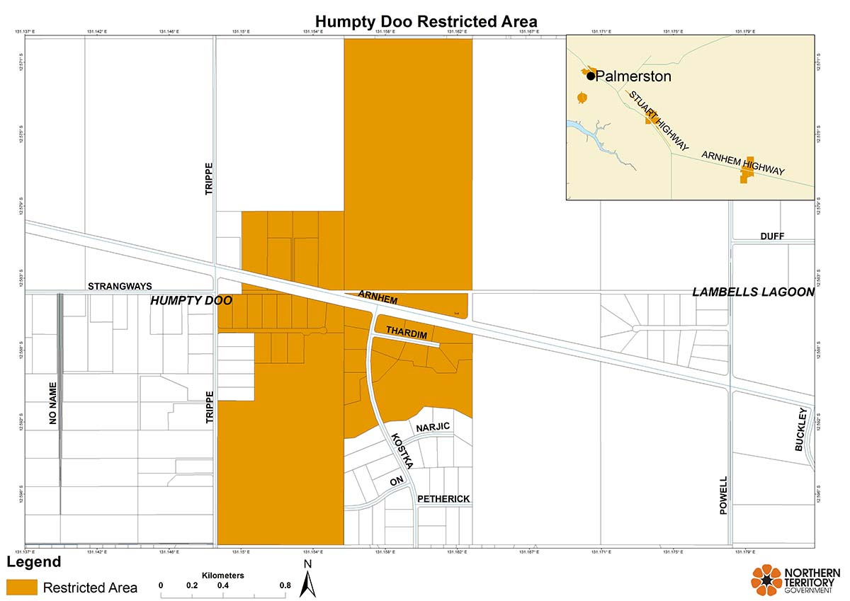 Humpty Doo restricted area map for movement of plants and leaves