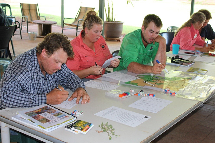 Figure 3: Annie Murphy and Henry Kneebone (Phillip Creek) tying all of the course content together in the Property Mapping Activity at the end of the day