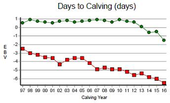 Figure 1. EBV herd averages for the DPIR Selected Brahman and Composite herds.  Days to Calving