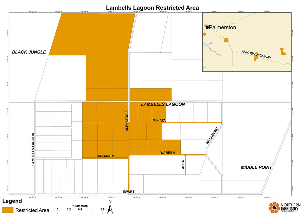 Lambells Lagoon restricted area map for movement of citrus plants and leaves