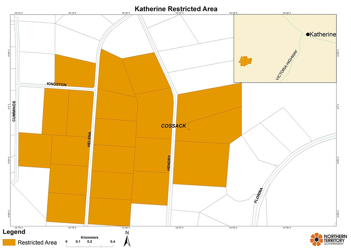 Katherine restricted area and control area map