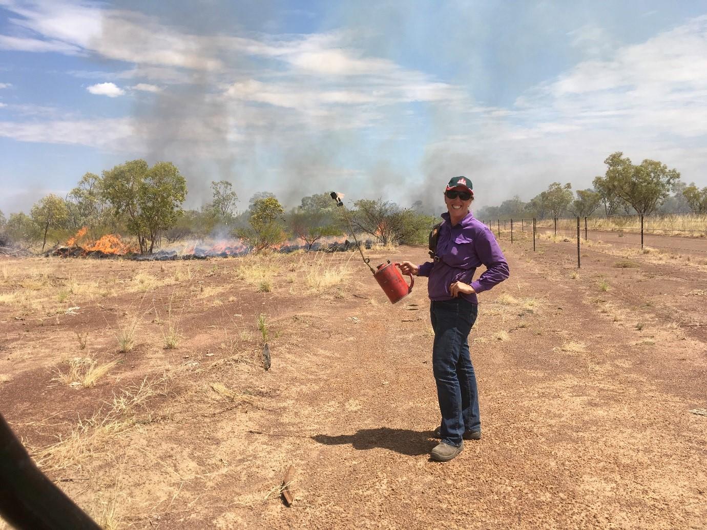 Meg Humphrys – burning off on the Central Australian rangelands