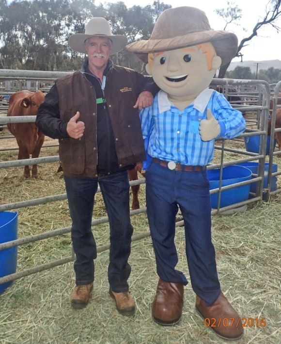 One of these characters is George the Farmer, the other is OMP Research Station Manager, Bryan Gill
