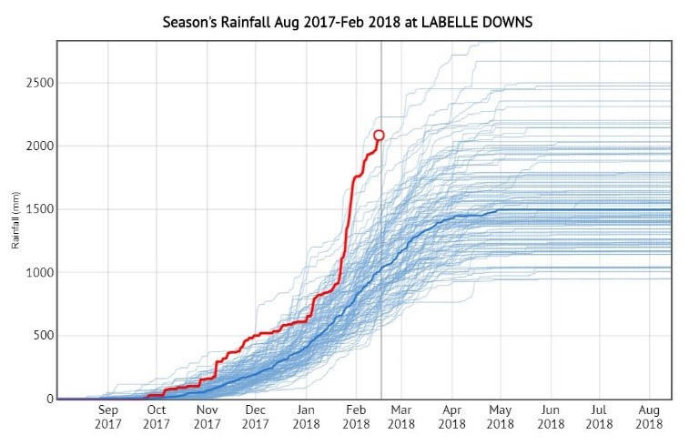 Graph 1. Season's  rainfall at Labelle Downs