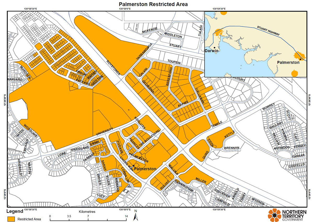 Palmerston restricted area map for movement of citrus plants and leaves