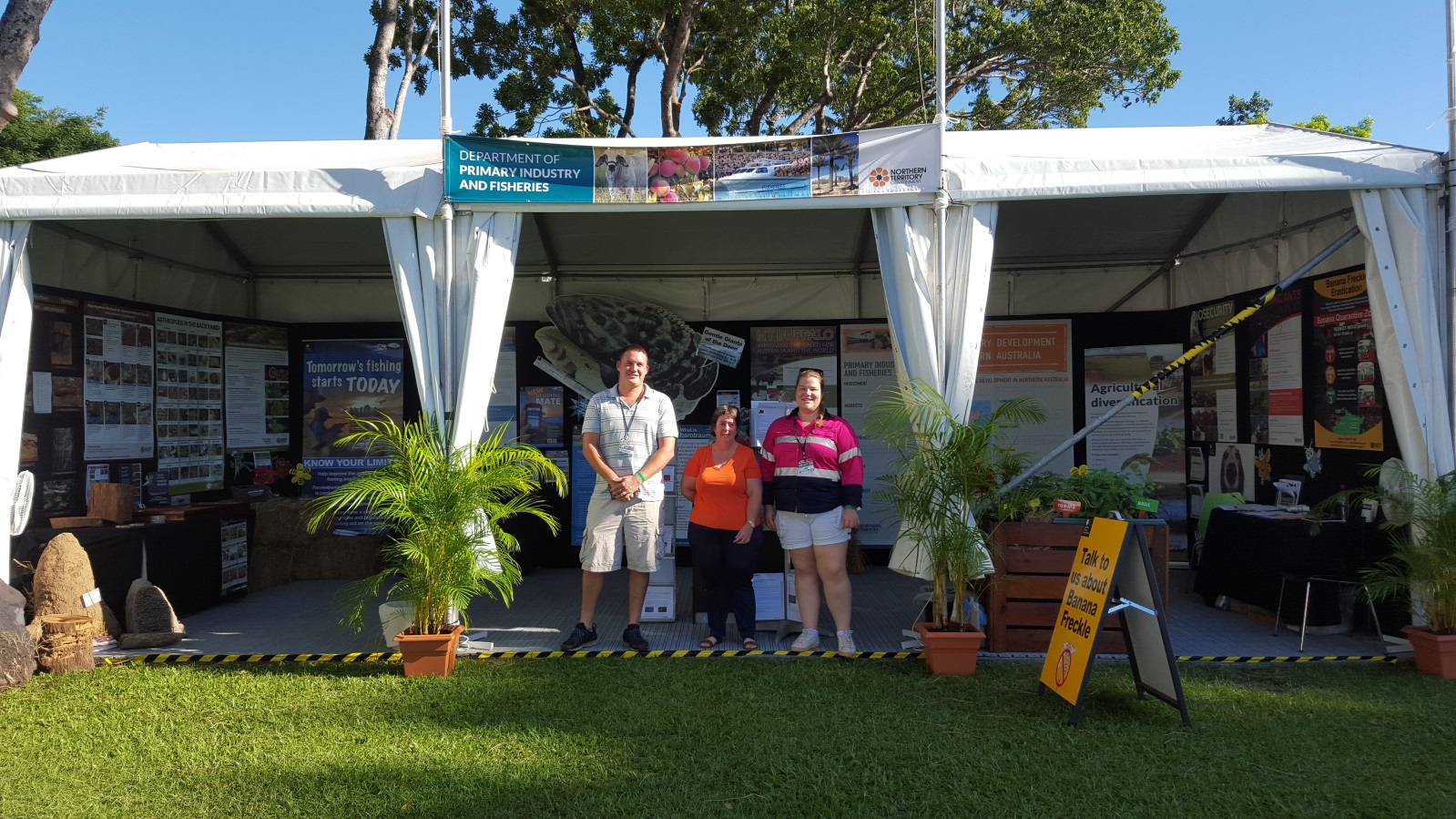 DPIF staff Cameron Hartley, Heika Oestreich and Amy Dobell at the Freds Pass Show