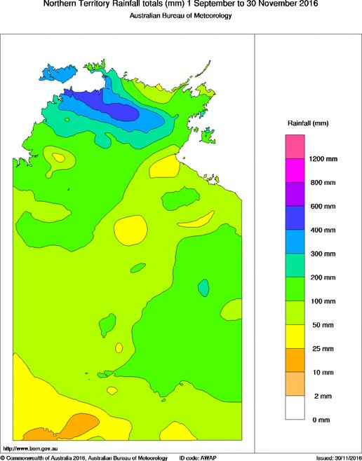 Rainfall maps for the Northern Territory for September–November (left)\(Image source: Australian Bureau of Meteorology)