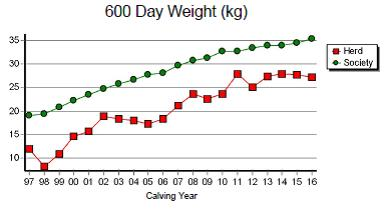Figure 1. EBV herd averages for the DPIR Selected Brahman and Composite herds. 600 Day Weight