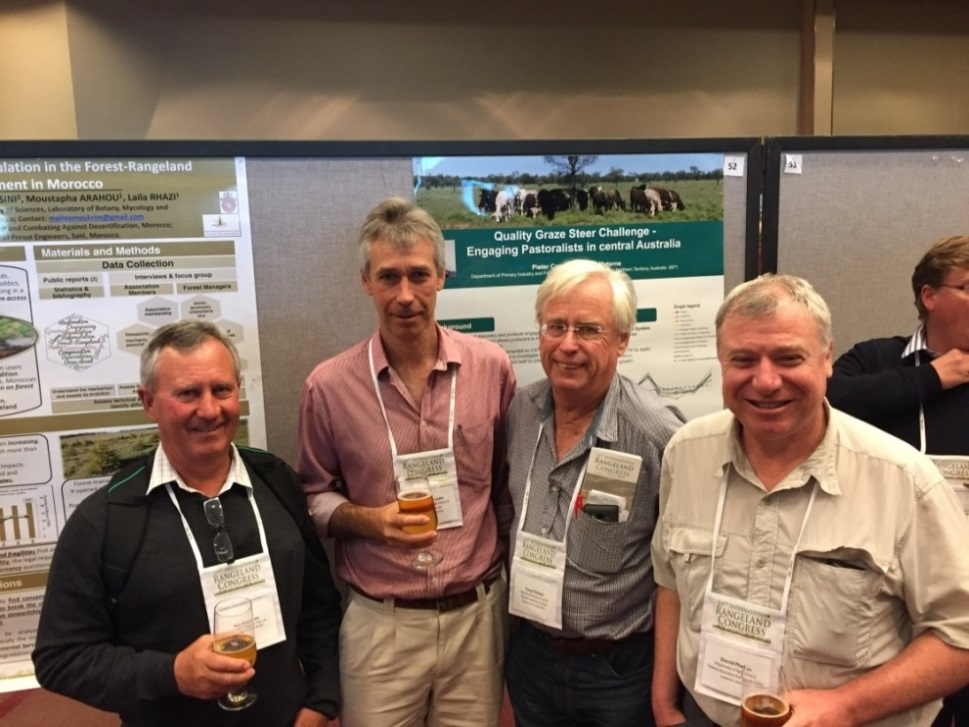 Roy Chisholm, Pieter Conradie, Tony Palmer (President Grassland Society of Southern Africa) and David Phelps (President    Australian Rangeland Society) at the end of day two of the conference