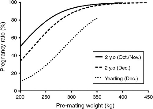 Modelling of pre-mating weight vs. predicted pregnancy rate in Top End yearling and two year old Brahman heifers