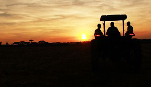 Silhoutte of a tractor with three men in it
