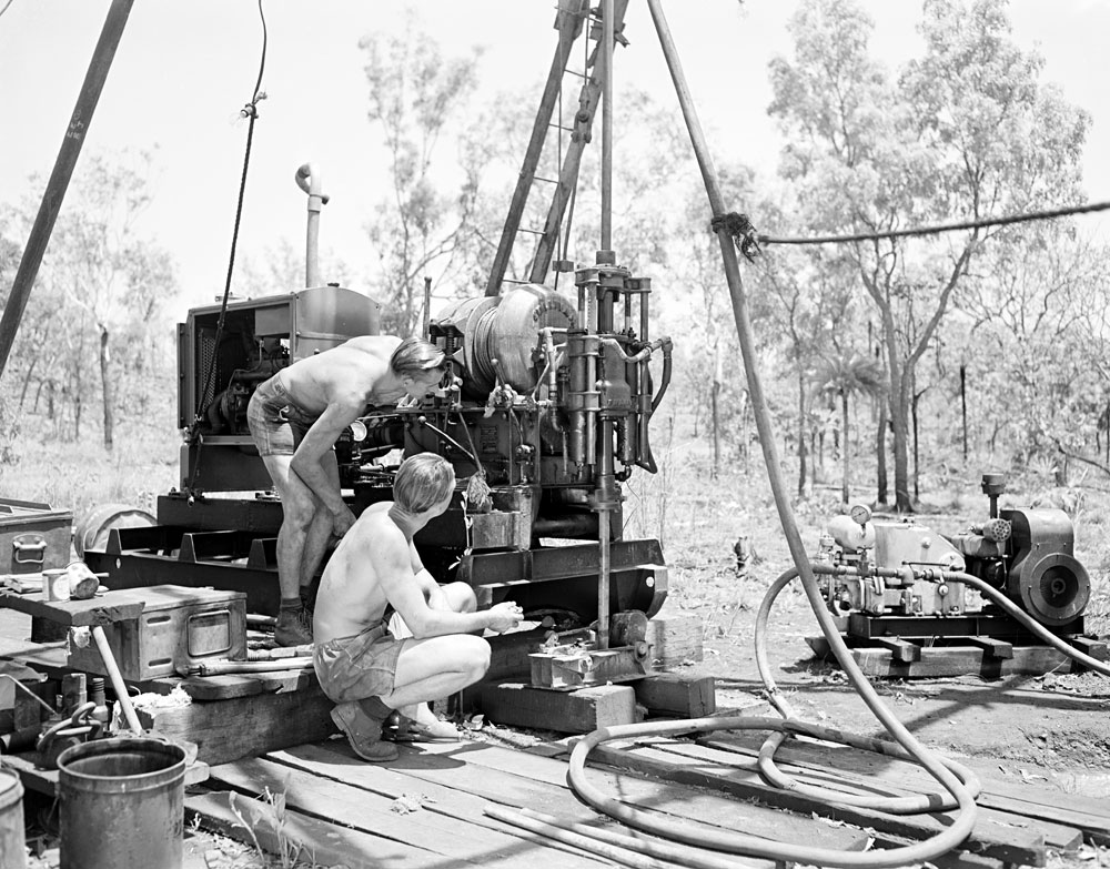 Drilling at Rum Jungle mine site (1959). National Archives of Australia: A1200, L30437