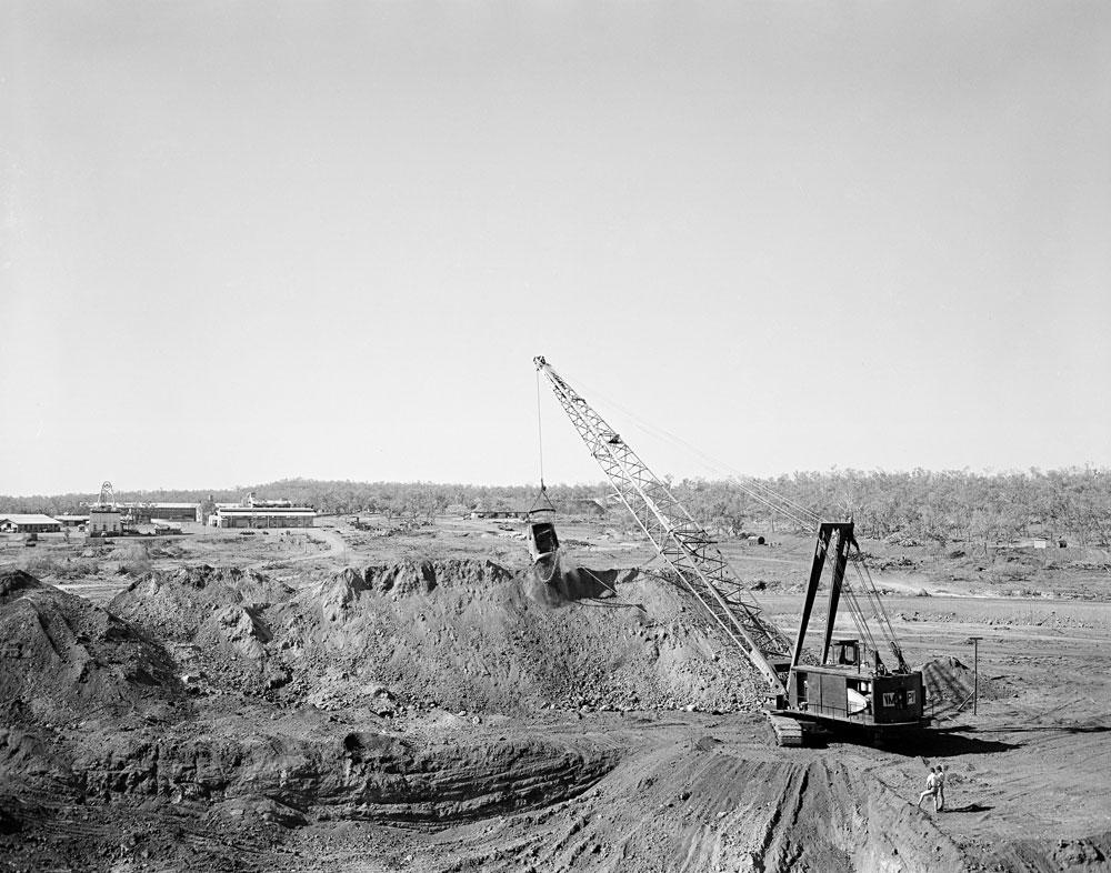 A depression channel under construction, Rum Jungle (1957). National Archives of Australia: A1200, L23834