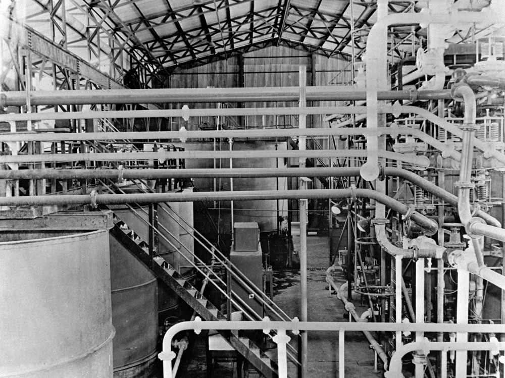 Inside the treatment plant, Rum Jungle (1958). National Archives of Australia: A1200, L27143
