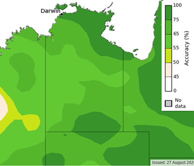 Historical skill for rainfall forecasts for the period of September to November. www.bom.gov.au