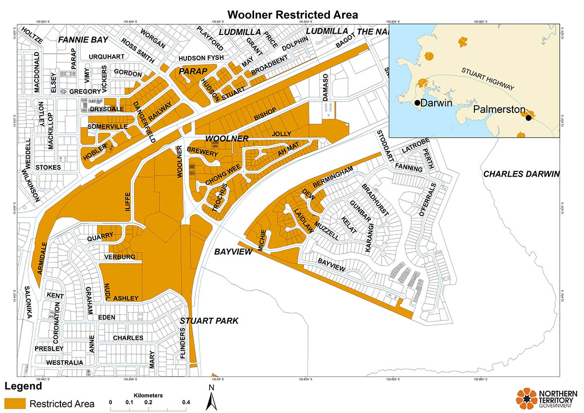 Woolner restricted area map for movement of citrus plants and leaves